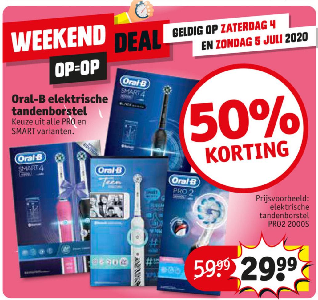 50% korting op Oral-B elektrische tandenborstels @Kruidvat