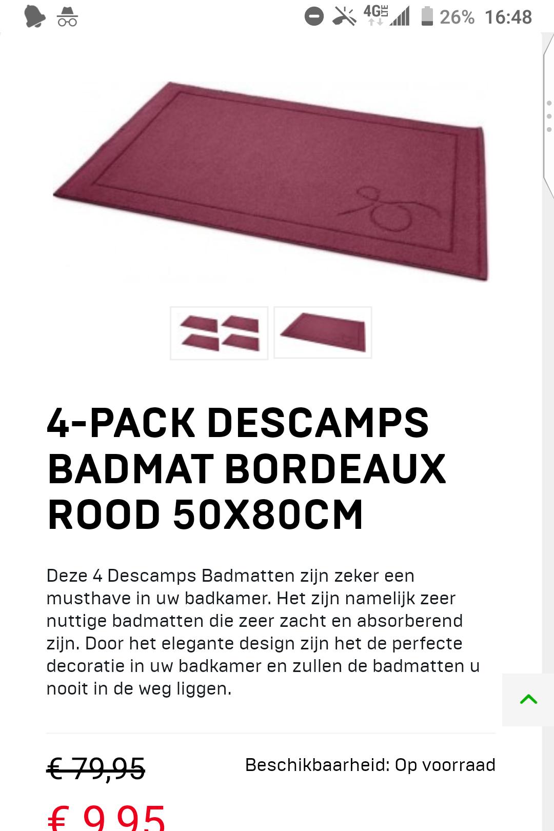 4-pack Descamps Badmat Bordeaux rood 50X80CM