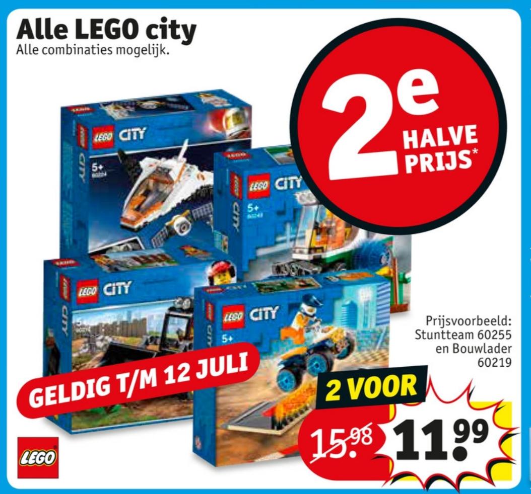 Alle Lego City 2e voor de halve prijs bij Kruidvat