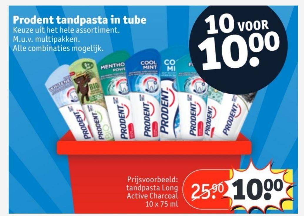 Prodent tandpasta 10 voor €10 bij kruidvat