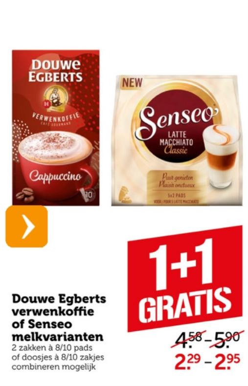 1 + 1 gratis Douwe Egberts verwenkoffie of Senseo melkvarianten bij Coop supermarkt