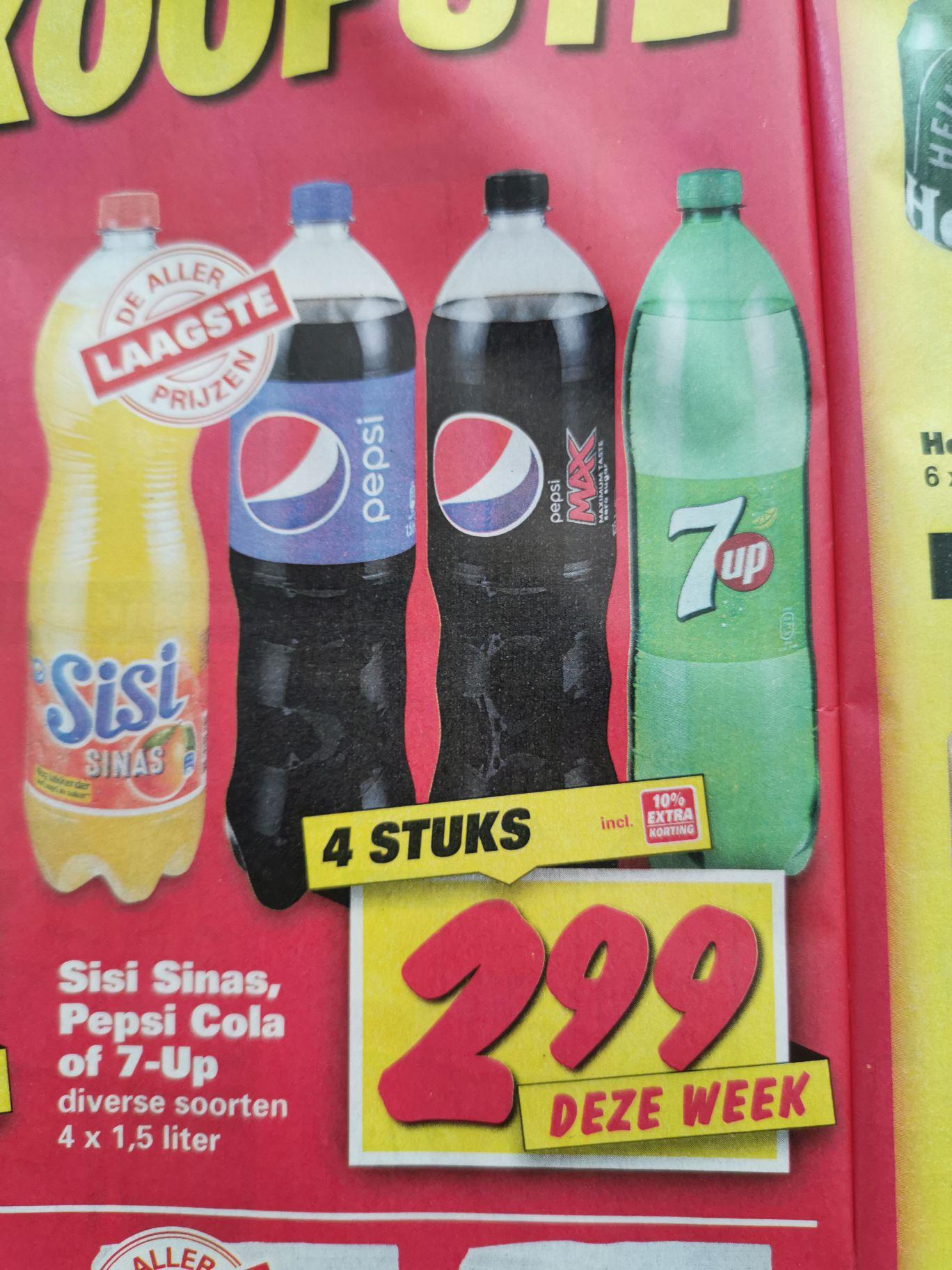 (Nettorama) 4x 1.5 liter Pepsi (Max), Sisi of 7UP voor €2.99