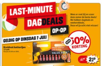 Dagdeal: 12 Kruidvat Batterijen AA of AAA met 50% korting