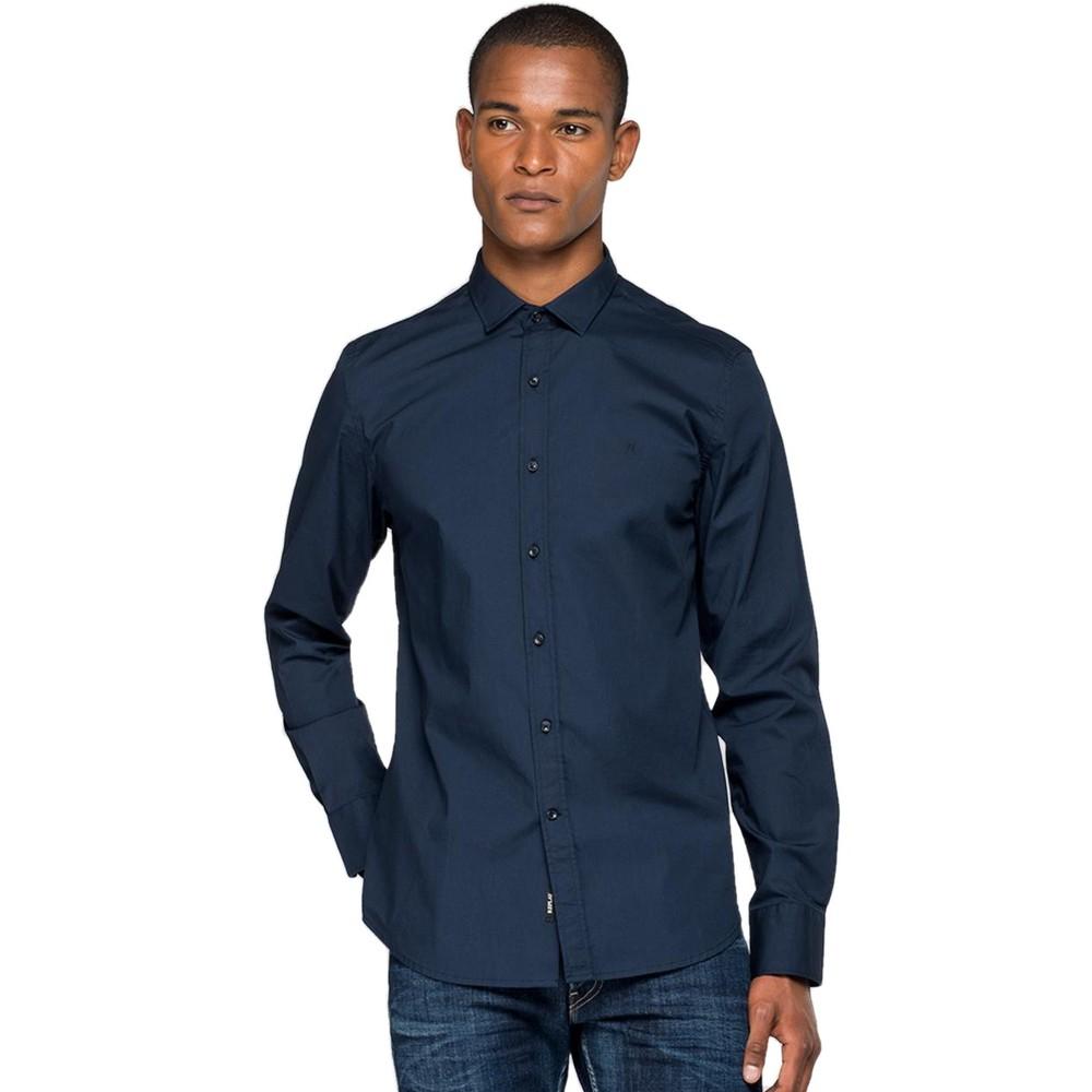 Replay Slim fit stretch heren overhemd blauw (maat S) voor €10,23 @ Amazon.nl