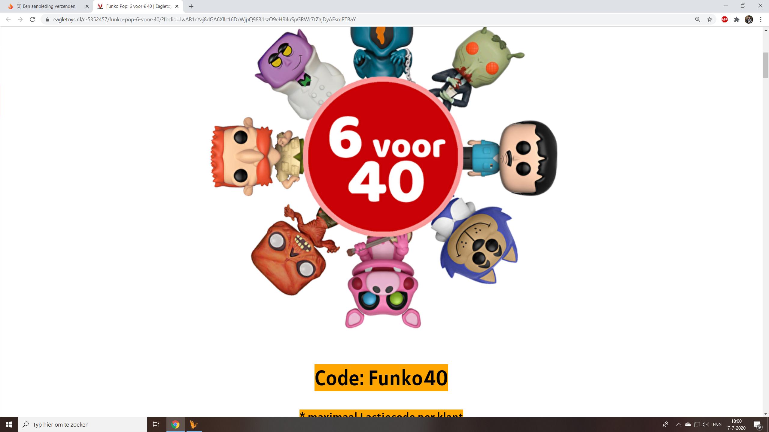 Funko Pop 6 voor €40 @Eagletoys.nl