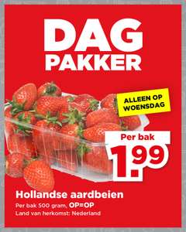 Plus Dagpakker: 500 gram aardbeien voor €1,99 en Groente/Fruit aanbiedingen week 28