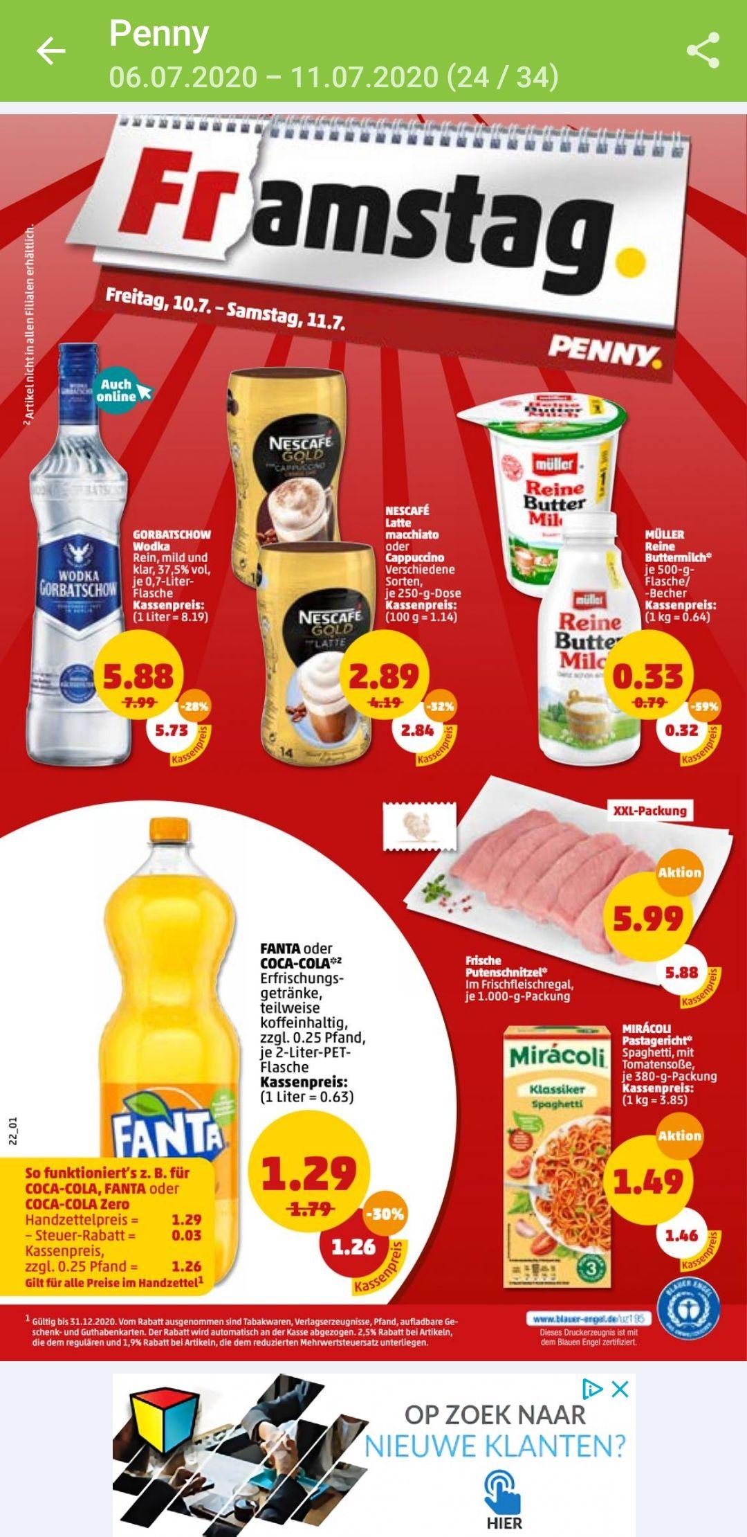 Grensdeal enkel op 10 en 11 juli bij Penny in Duitsland. 2 liter fles Fanta of Coca Cola 1,26€