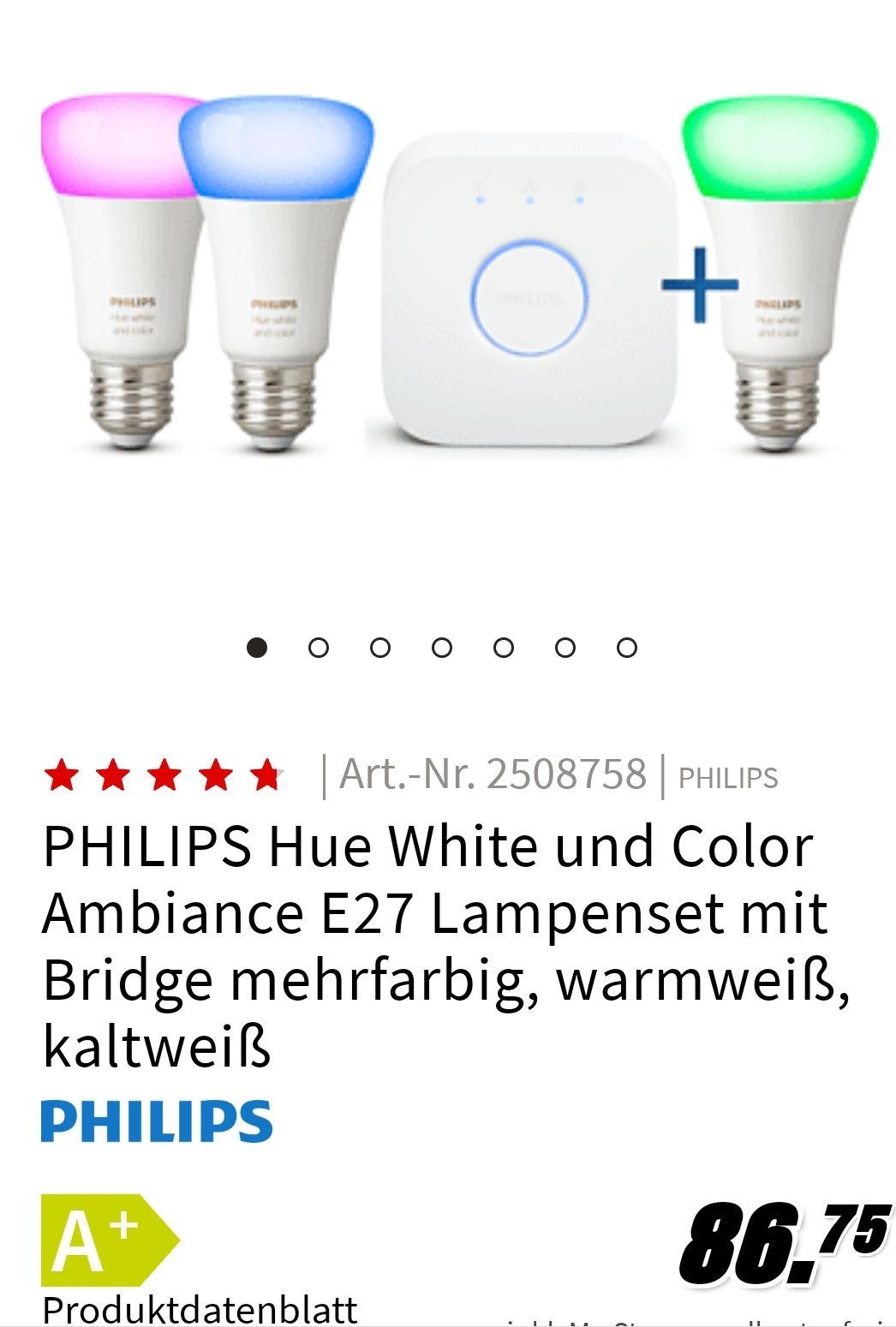 [GRENSDEAL] Hue 3x e27 kleur+Bridge 86,75 @ Mediamarkt Duitsland
