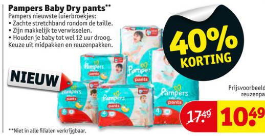 40% korting op Pampers luierbroekjes (Baby Dry) @ kruidvat