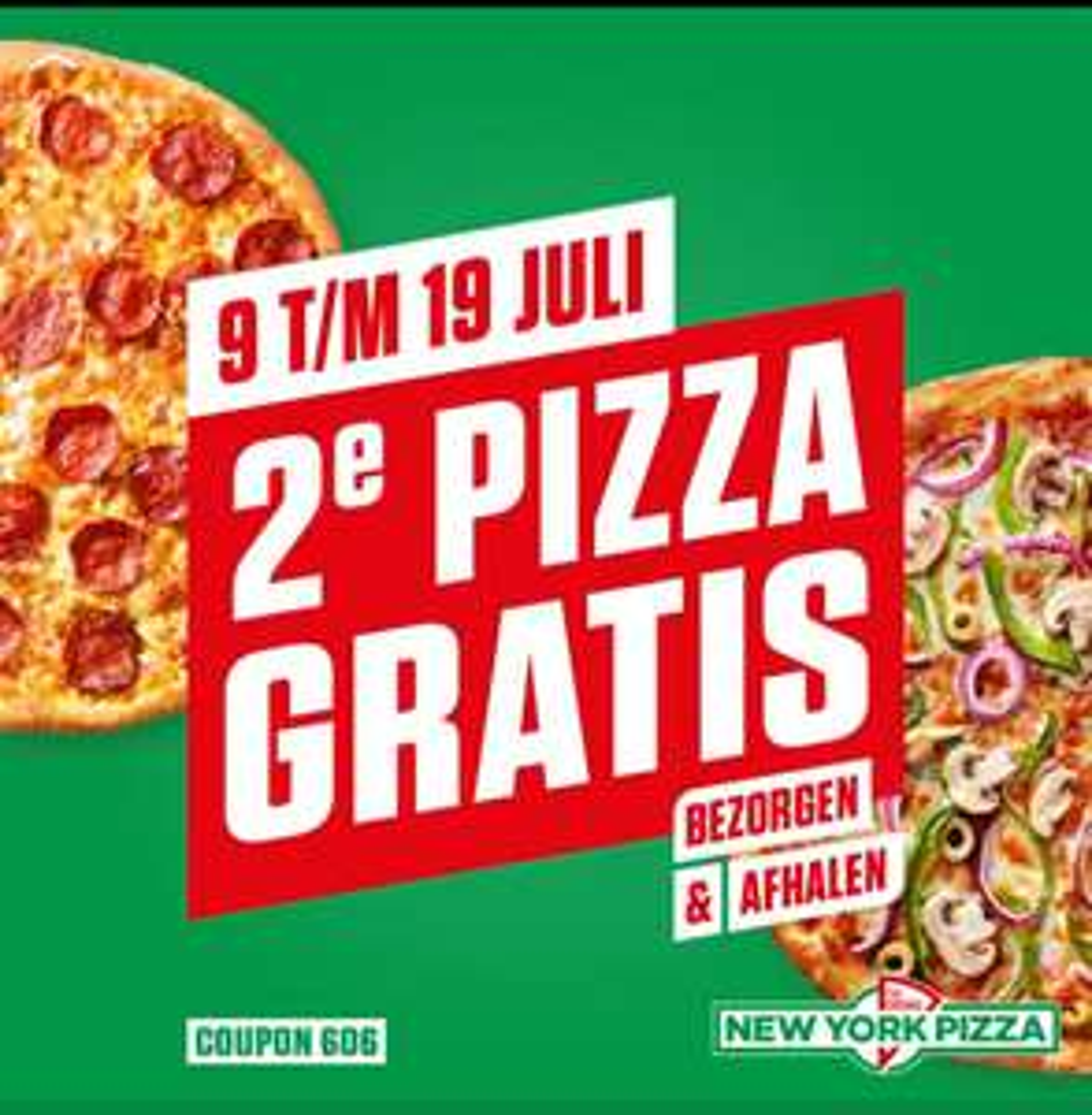 2e pizza gratis van 9 t/m 19 juli @ New York Pizza