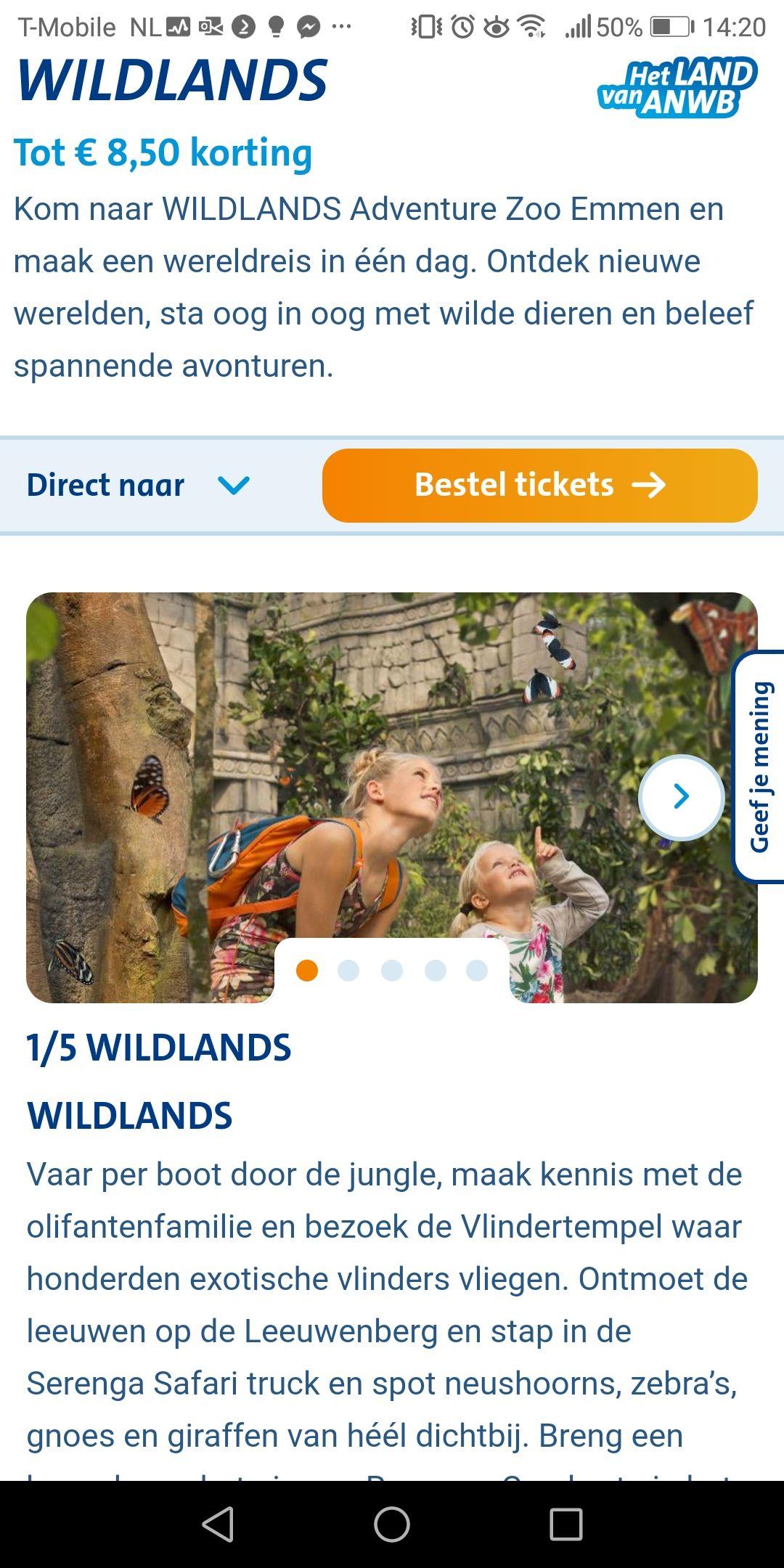 8,50 korting bij Wildlands
