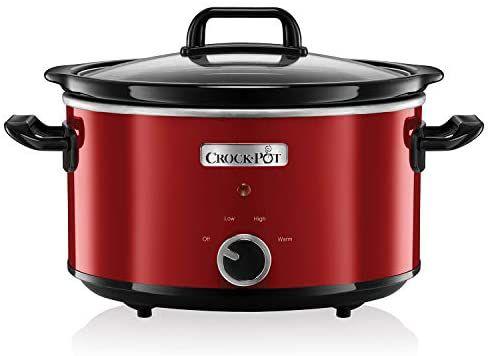 Crock-Pot Traagkoker, 3,5liter, geborsteld chroom, rood