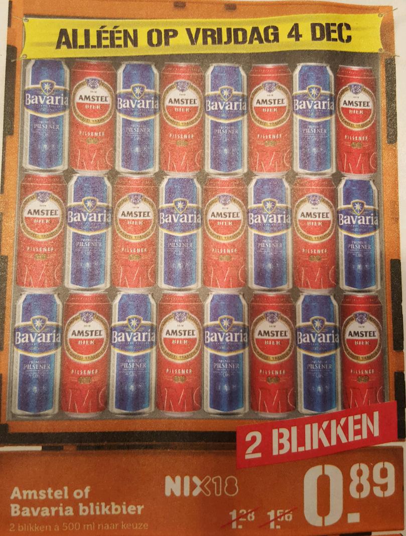 Alleen a.s. vrijdag: 2 Amstel of Bavaria halve liter blikken €0.89 @Coop