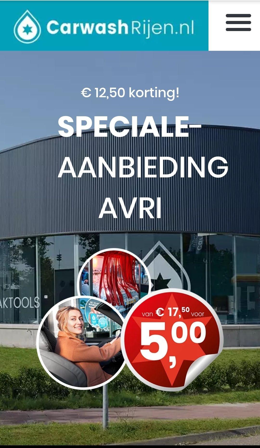 €12.50 korting op het beste wasprogramma @Carwash Rijen