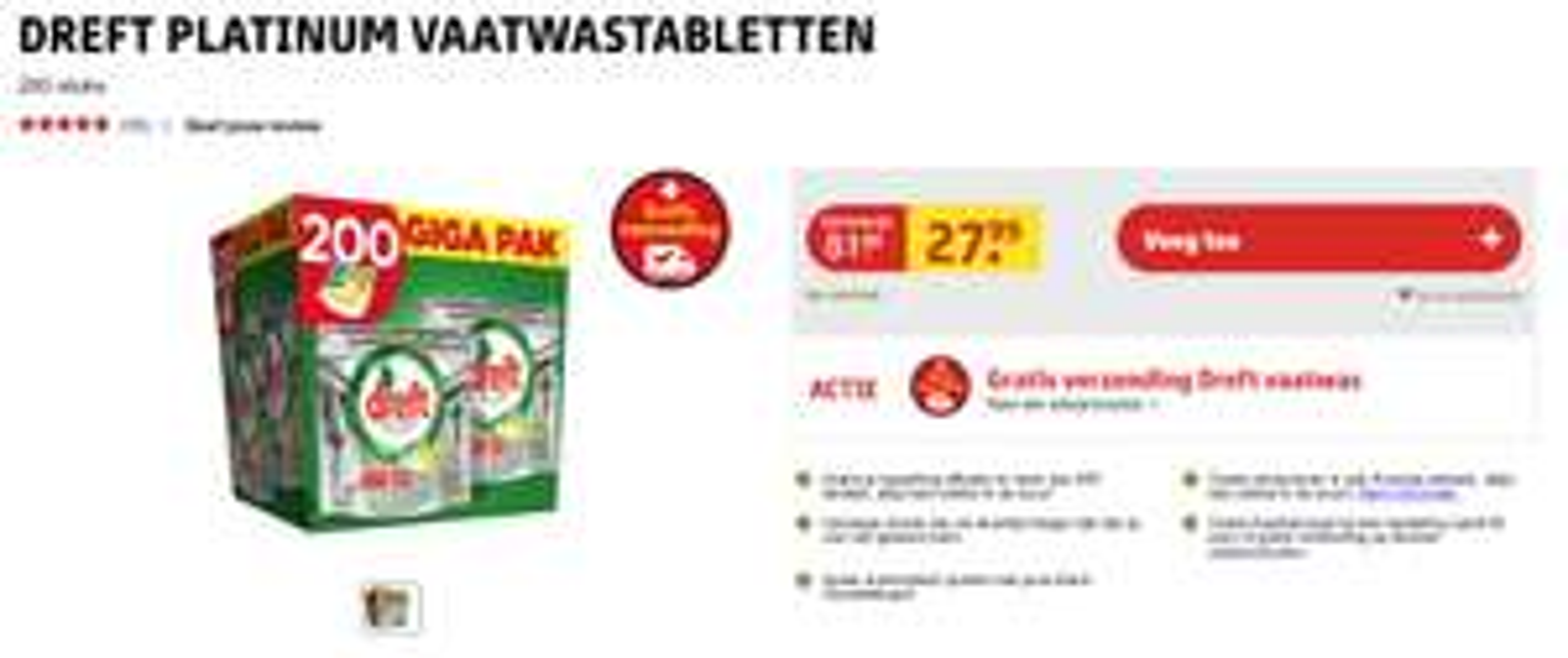 200 Dreft Platinum vaatwastabletten voor EUR 27,99 ==> 14 cent per tablet