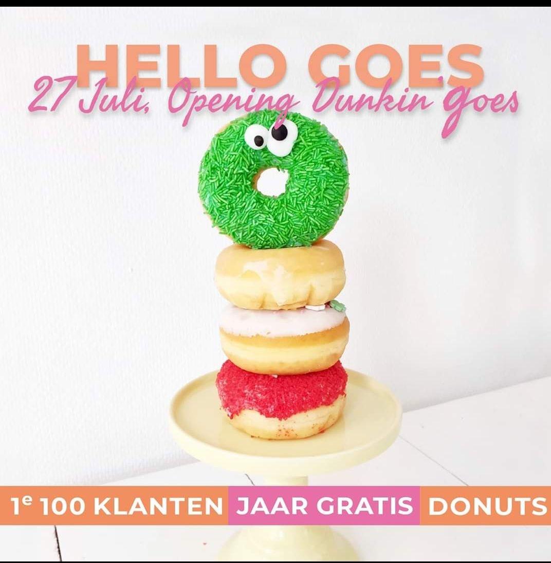 1e 100 klanten 1 jaar gratis donuts! @Dunkin' donuts [lokaal Goes]
