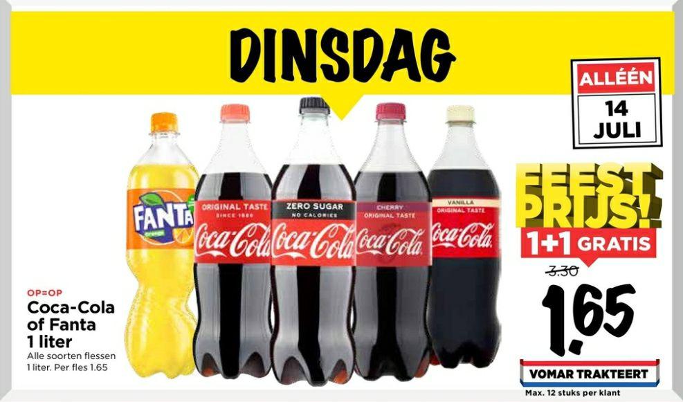 Vomar - 2 x 1L Fles Coca-Cola of Fanta