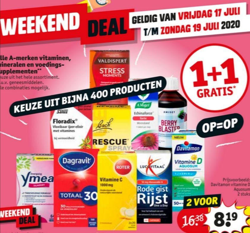 Weekenddeal: 1 + 1 gratis op alle A-merk vitaminen, mineralen en voedingssupplementen @ Kruidvat