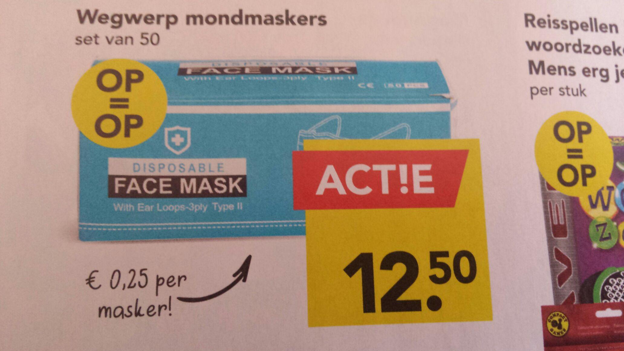 50 wegwerp mondmaskers bij supermarkt Deen in de weekreclame