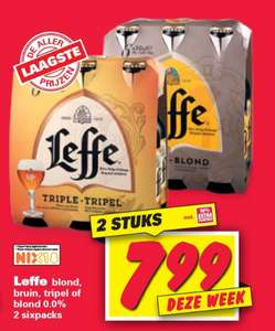 2x 6-pack Leffe Blond/Bruin/Tripel (€7,99) @Nettorama