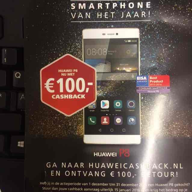 €100,- cashback bij aankoop van de Huawei P8