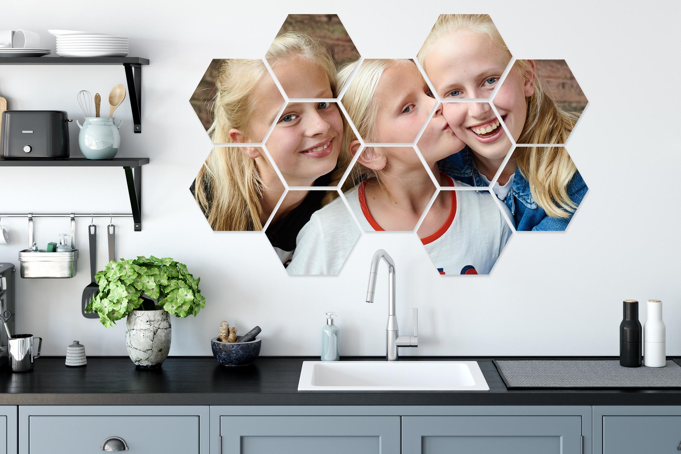 -80% op een eigen foto/afbeelding verspreid over meerdere hexagons - v.a. €5,59