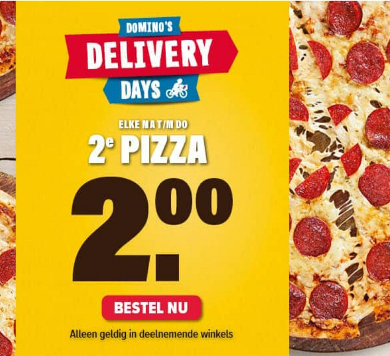 Domino's 2e pizza voor €2,- bij bezorgen.