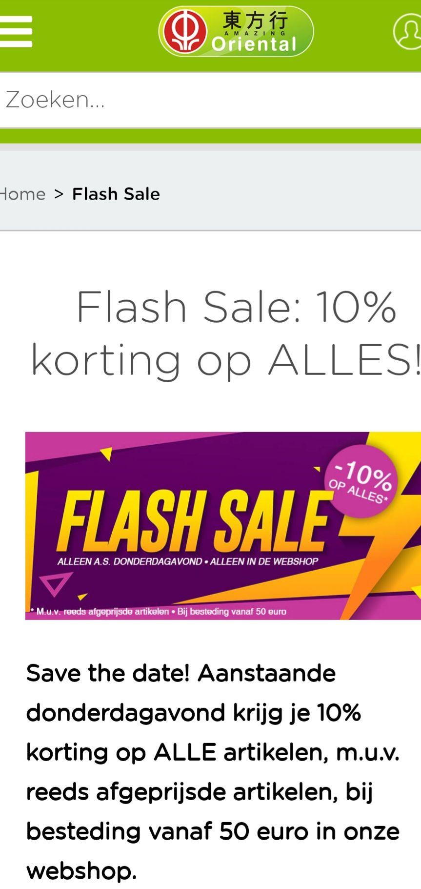Flashsale Oriental Webshop 10% korting op alles