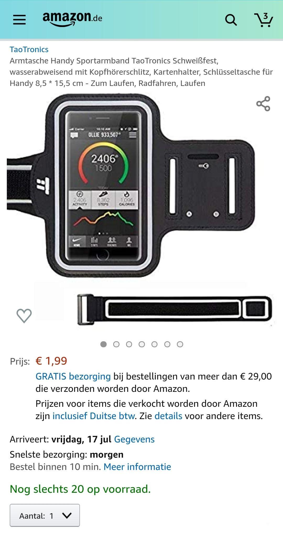 Sportarmband voor telefoon €1,99 @ Amazon.de