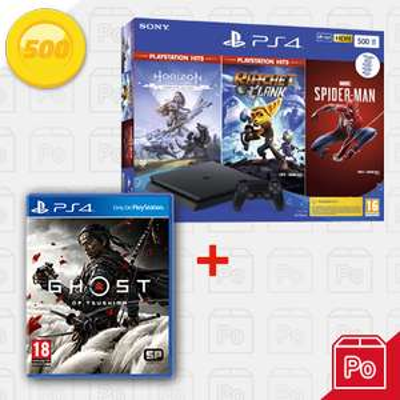 PlayStation 4 Slim 500GB Hits bundel + GRATIS Ghost of Tsushima Plus Edition