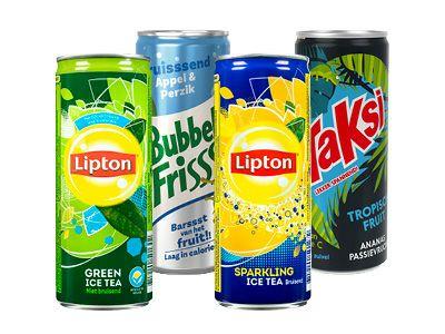 4 blikjes Bubbelfrisss, Taksi of Lipton 0,25cl @Hoogvliet