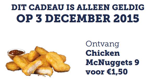 9 McNuggets voor 1,50 @ McDonald's
