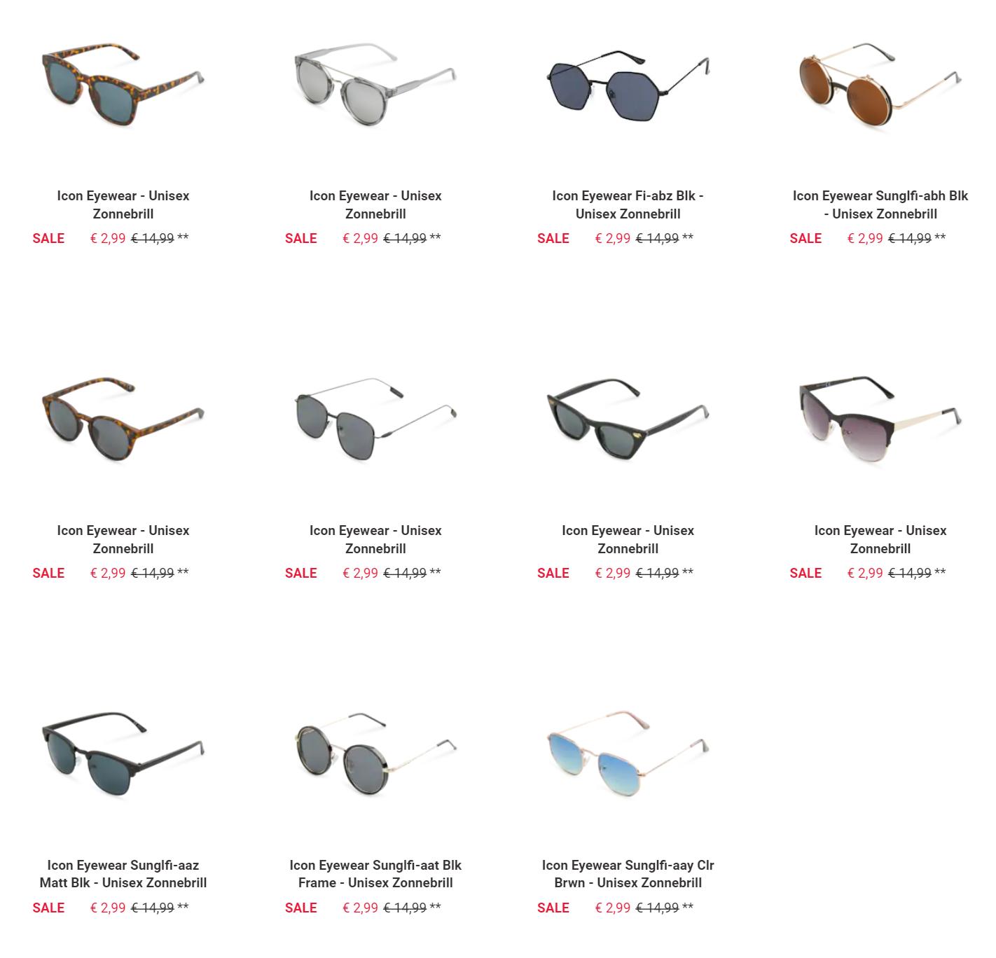Veel Icon Eyewear zonnebrillen voor €2,99 (incl. verzending)