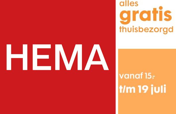 T/m 19 juli gratis bezorging op alles vanaf €15 besteding @ HEMA (was bij €25)