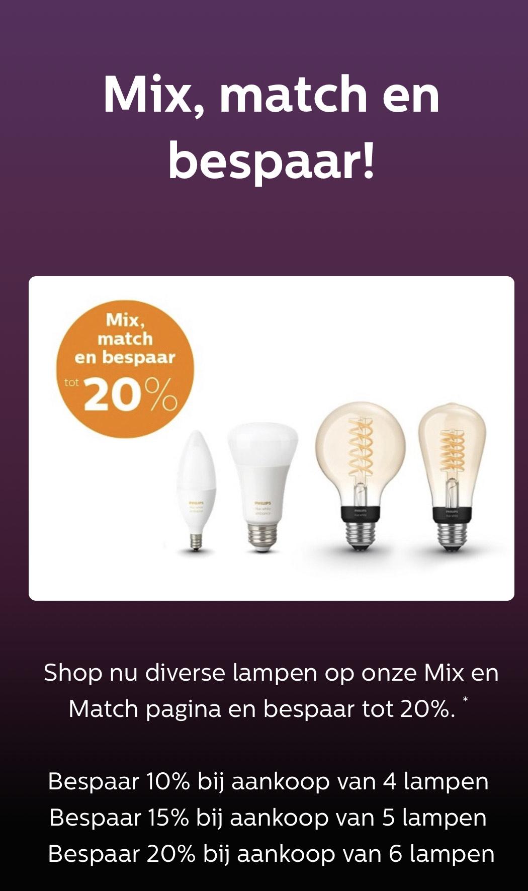 Tot 20% korting op Philips Hue lampen
