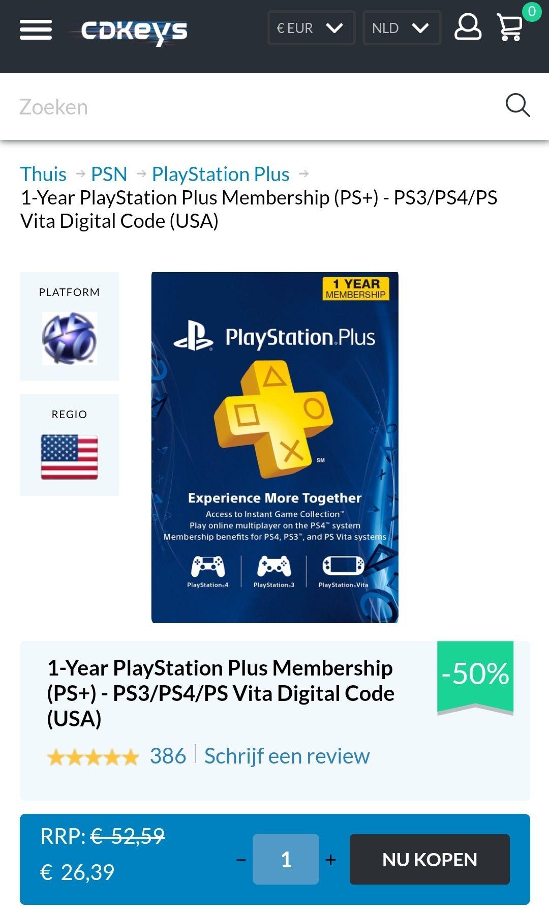 53% korting op 1 jaar PlayStation Plus USA only!
