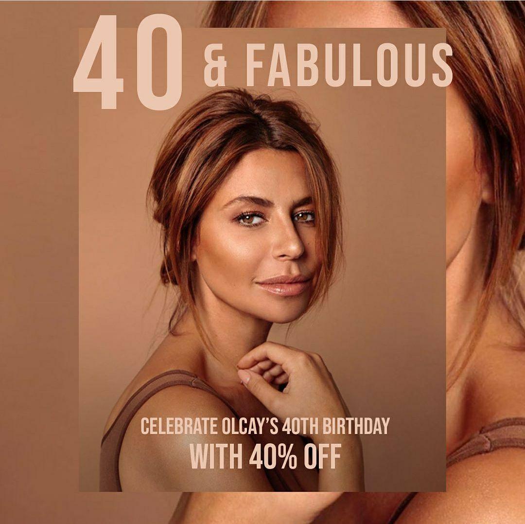 40% korting op alle beauty producten webshop op 40e verjaardag Olcay