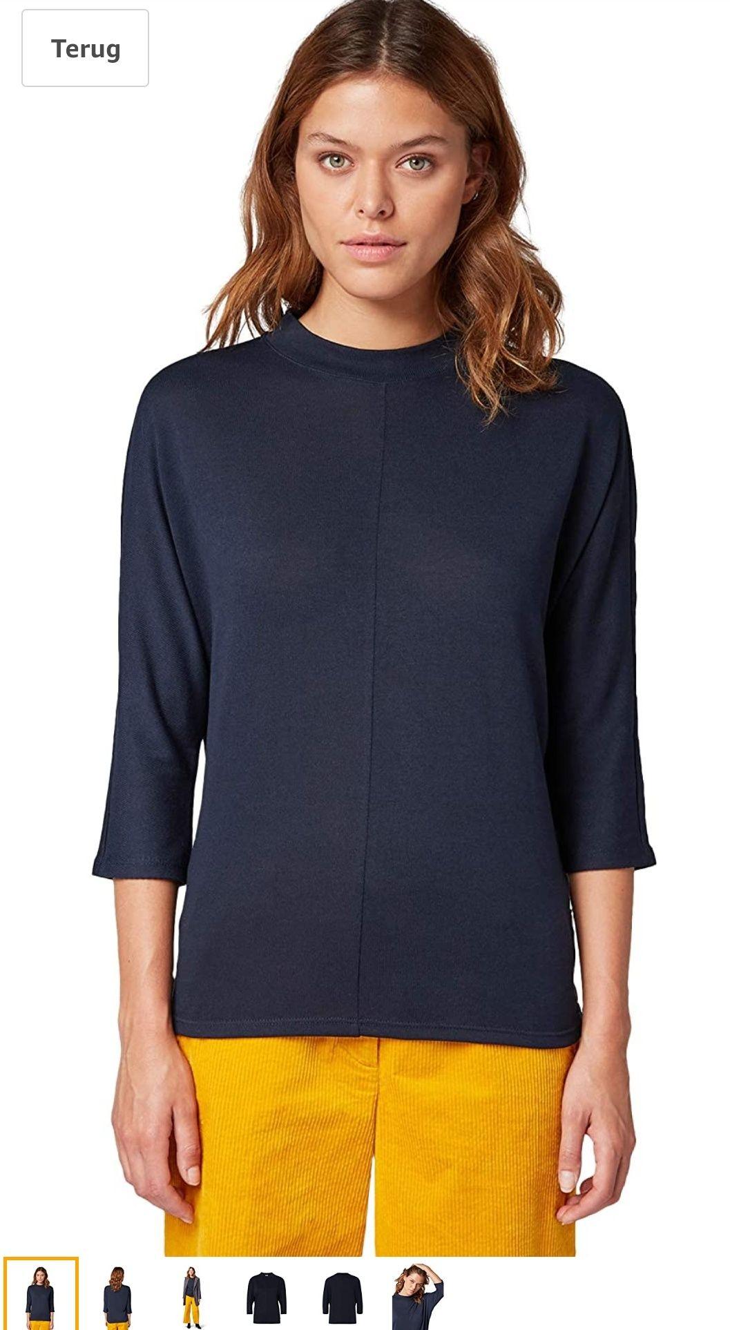 Tom Tailor dames 3/4-Mouwenshirt met Vleermuismouwen (BLAUW)