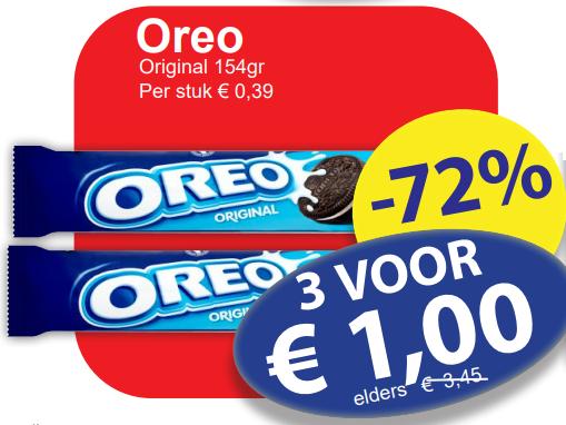 3 pakken Oreo's 154gr voor €1,- bij Mediakamente die Grenze