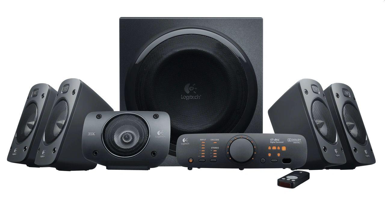 Logitech Z906 5.1 Sound System luidspreker met 1000 Watt surround sound, THX, meerdere audio-ingangen, afstandsbediening, multi-device