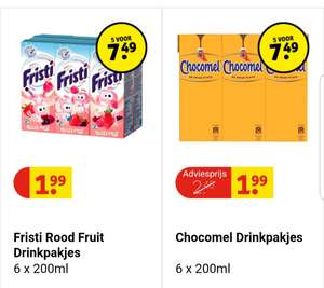 CHOCOMEL EN FRISTI 6-packs 5 voor €7.49 bij Kruidvat Alleen Online