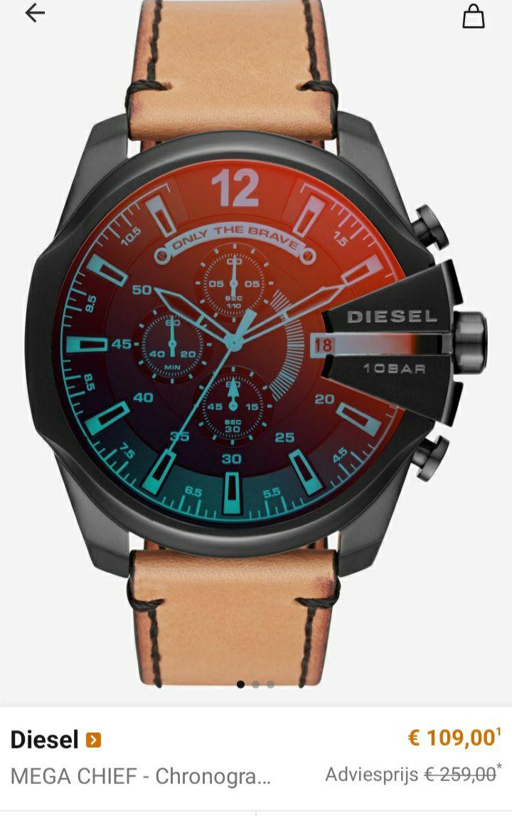 Diesel horloges (ook smartwatches) met grote korting