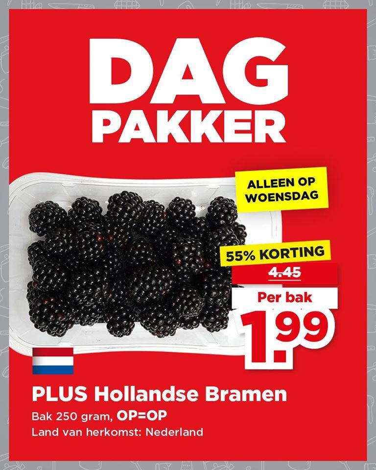PLUS Dagpakker (week 30) --> 250 gram Verse Hollandse Bramen voor €1,99 (ofwel €7,96/kg)