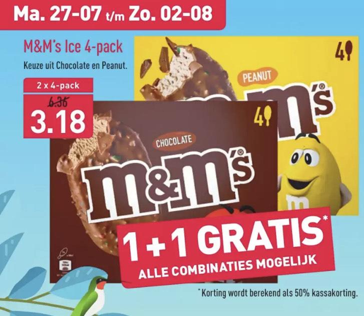 M&M's ijs 4-pack chocolade of peanut bij Aldi