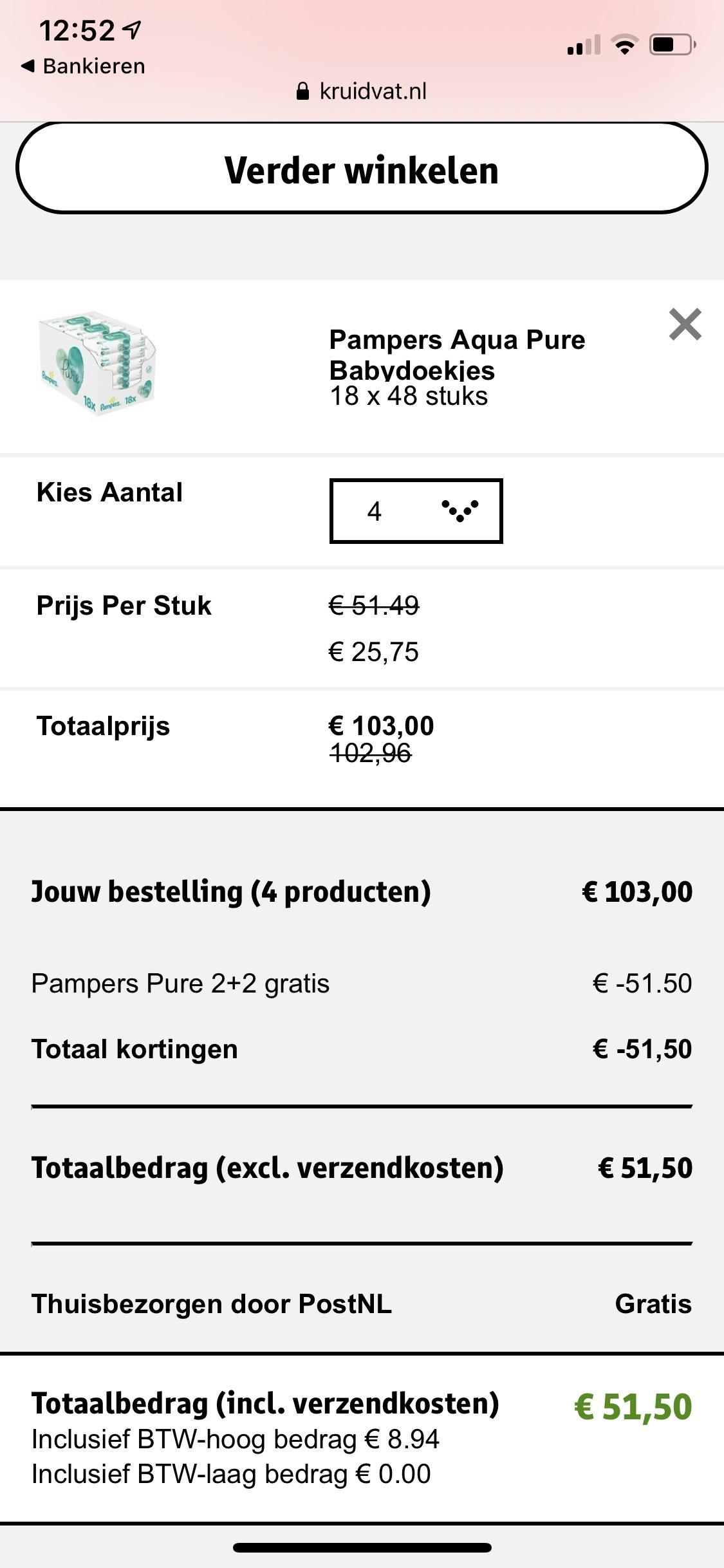 75% korting 4 dozen pampers pure billendoekjes van 18 pakjes voor €51,5