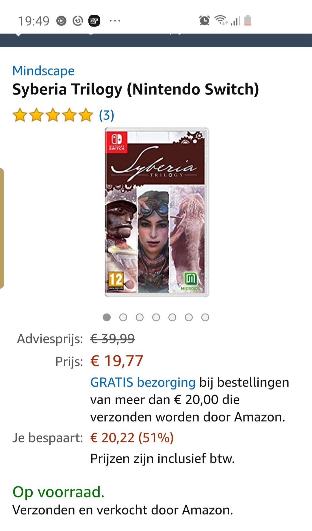 Syberia trilogy nintendo switch @ Amazon.nl