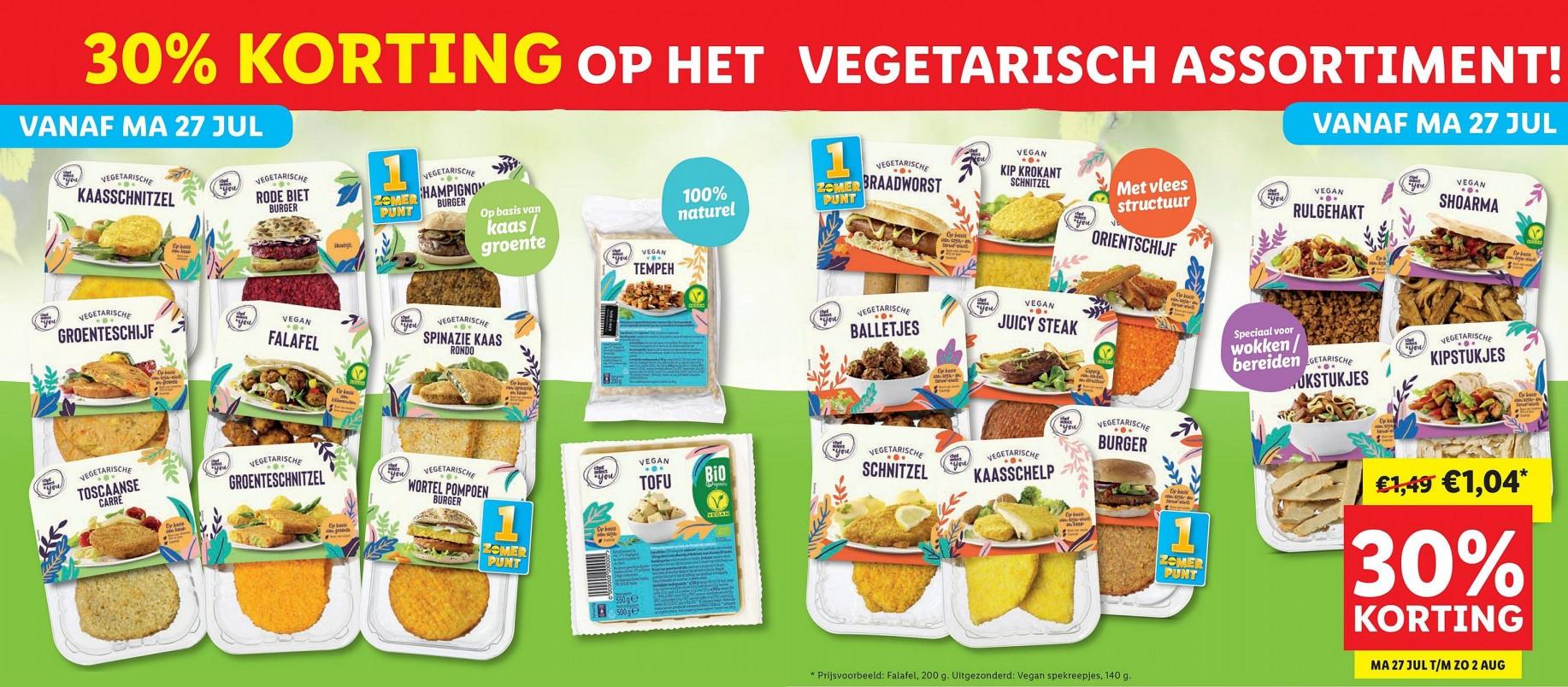 27 juli t/m 2 augustus: 30% korting op het vegetarische assortiment @ Lidl