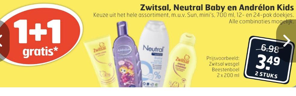Weekendactie! 1+1 gratis op Zwitsal, Neutral Baby en Andrélon kids