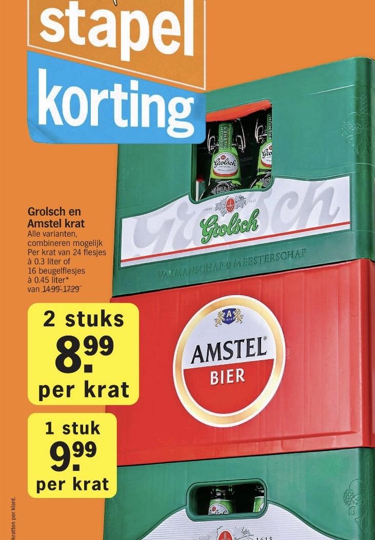 Albert Heijn Grolsch en Amstel kratten bier stapkorting