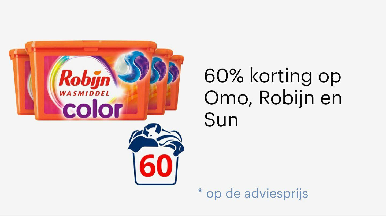 60% korting op omo, Robijn en Sun, gratis verzenden vanaf €20.